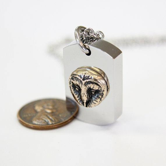 Barn Owl Necklace Cremation Urn Pendant - Moon Raven Designs