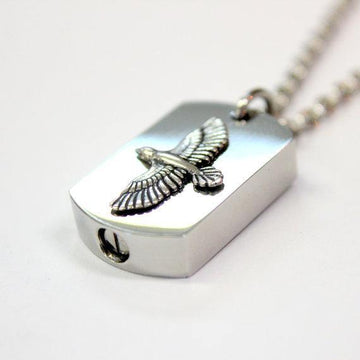 Silver Soaring Raven Cremation Urn Pendant - Custom Engraving Available - Moon Raven Designs