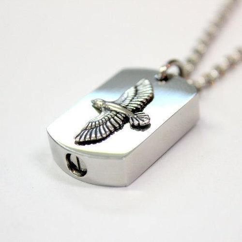 Silver Soaring Raven Necklace Cremation Urn Pendant Memorial Ash Keepsake Stash Vial