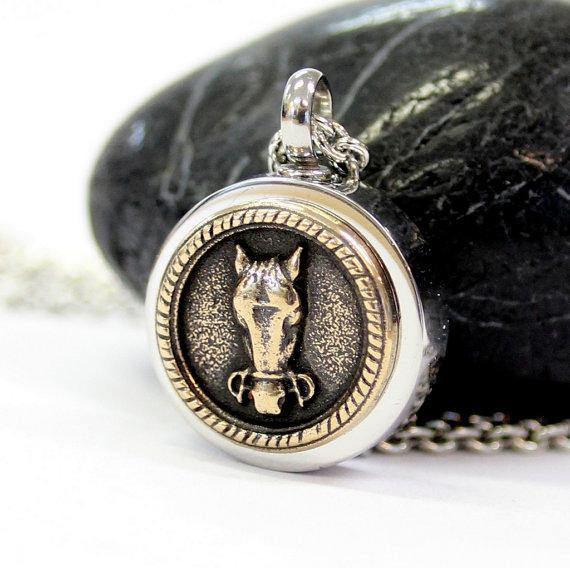 Horse Face Necklace Cremation Urn Pendant - Custom Engraving Available - Moon Raven Designs