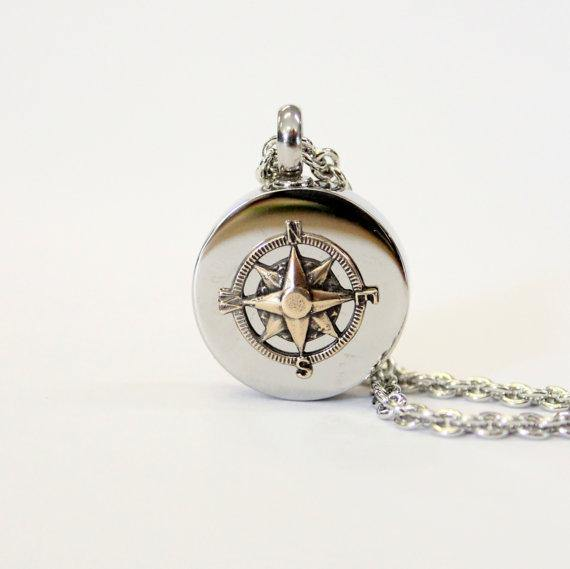 Bronze Compass Rose Cremation Urn Pendant - Custom Engraving Available - Moon Raven Designs