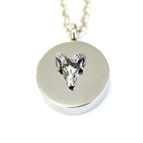 Sterling Silver Ram Head Urn Necklace Cremation Urn Sterling Pendant Memorial Ash Keepsake