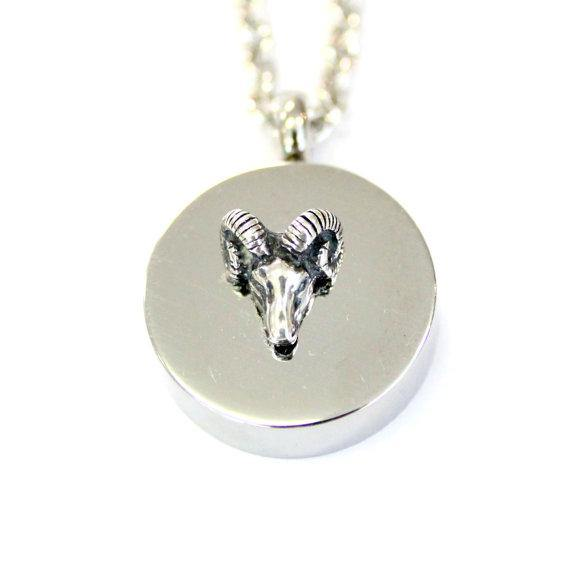 Sterling Silver Ram Head Cremation Urn Pendant - Custom Engraving Available - Moon Raven Designs