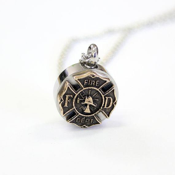 Firemen's Necklace Cremation Urn Pendant - Moon Raven Designs
