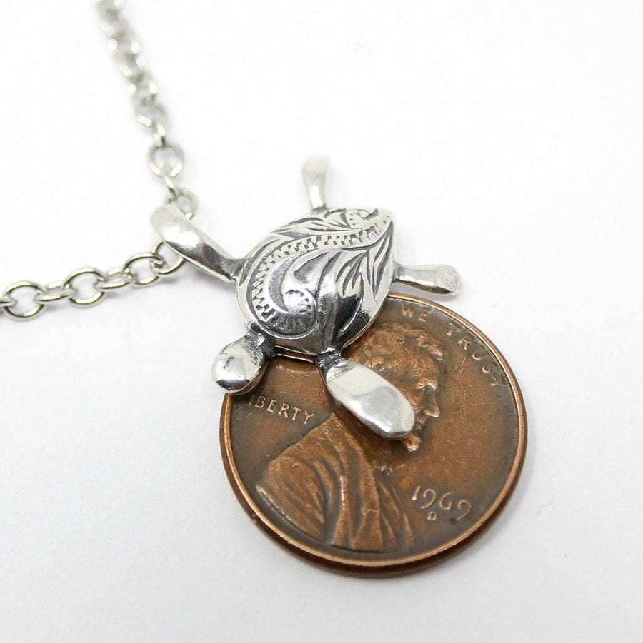 Engraved Sea Turtle Necklace in Sterling Silver - Moon Raven Designs