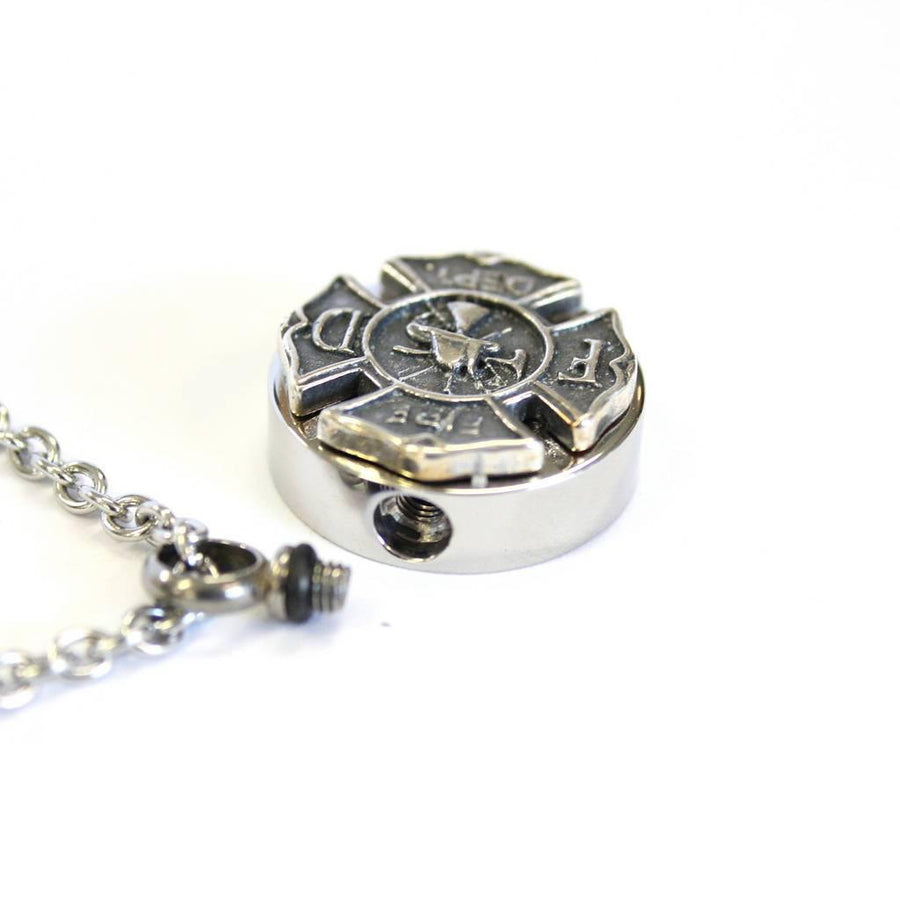 Firemens Emblem Cremation Ash Urn Necklace - Moon Raven Designs