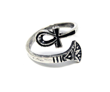Silver Ankh Ring Egyptian Ring - Moon Raven Designs