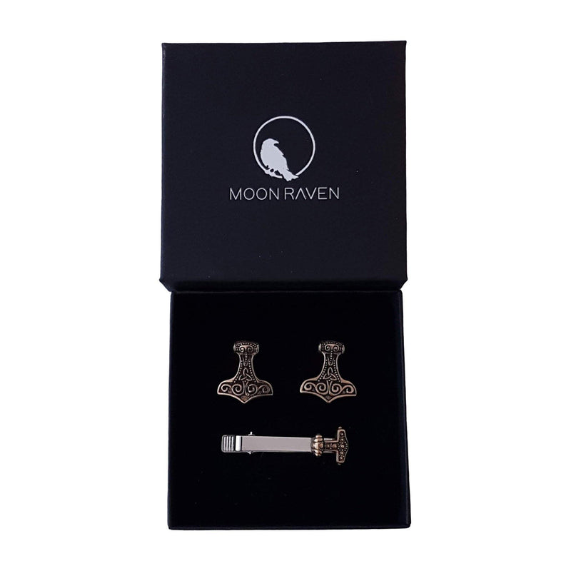 Thor's Hammer Suit Accessory Gift Set Cuff Links and Matching Tie Clip Solid Hand Cast Bronze - Moon Raven Designs