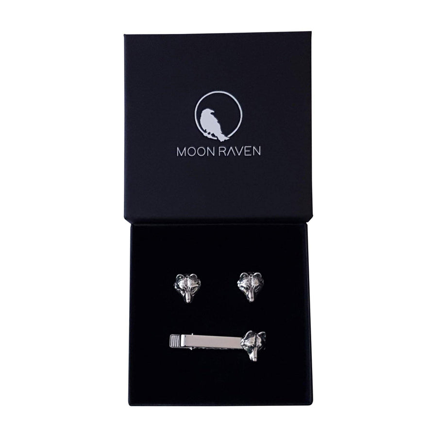 Wolf Face Suit Accessory Gift Set - Pair of Cuff Links and Tie Clip - Solid Hand Cast Silver Plated White Bronze - Wolf Jewelry Gift for Him - Moon Raven Designs