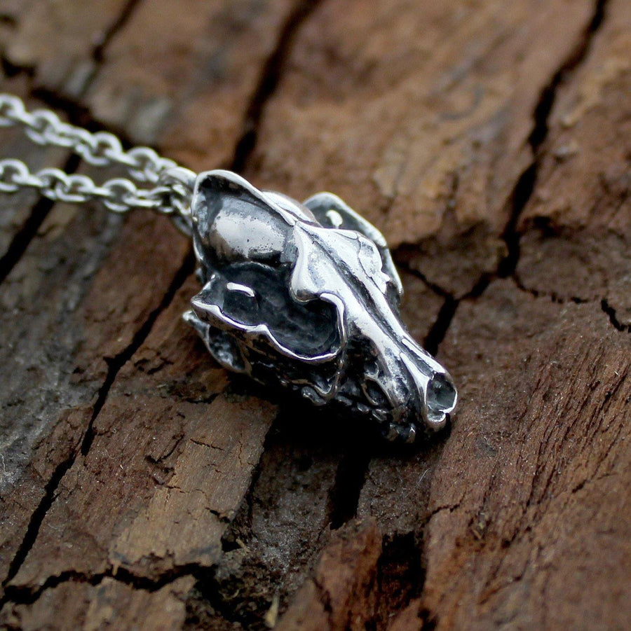 Wolf Skull Pendant Charm Necklace - Moon Raven Designs