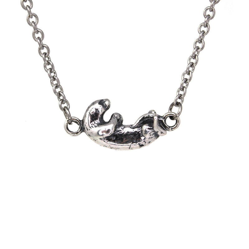 Floating Otter Pendant Charm Necklace - Solid 925 Sterling Silver- Oxidized Hand Polished Finish - Multiple Chain Lengths - Animal Jewelry - Moon Raven Designs