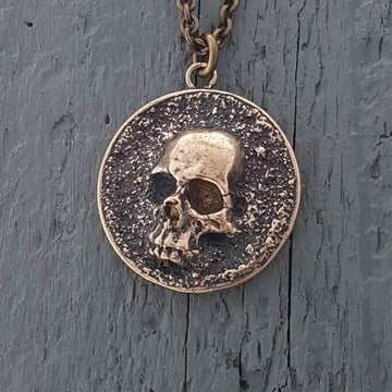 Pirate Skull Medallion Pendant Necklace Solid Gold Bronze - Moon Raven Designs