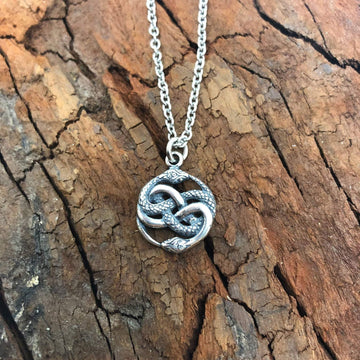 Auryn Ouroboros Pendant Necklace Solid Cast .925 Sterling Silver - Moon Raven Designs