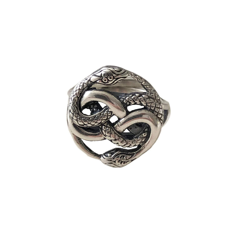 Auryn Snake Ring - .925 Sterling Silver - Polished Oxidized Finish - Adjustable Band - Ouroboros Neverending Story Jewelry Gift - Moon Raven Designs