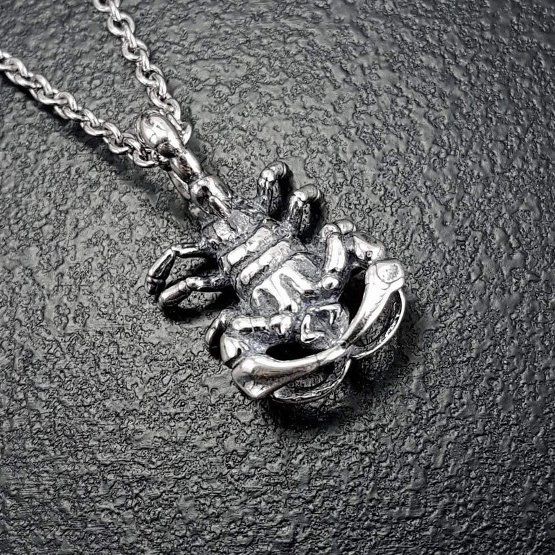 Scorpion Pendant Necklace Solid Cast Silver Plated Bronze - Moon Raven Designs