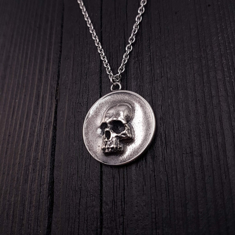 Human Skull Pirate Medallion Pendant Necklace Silver Plated Bronze - Moon Raven Designs