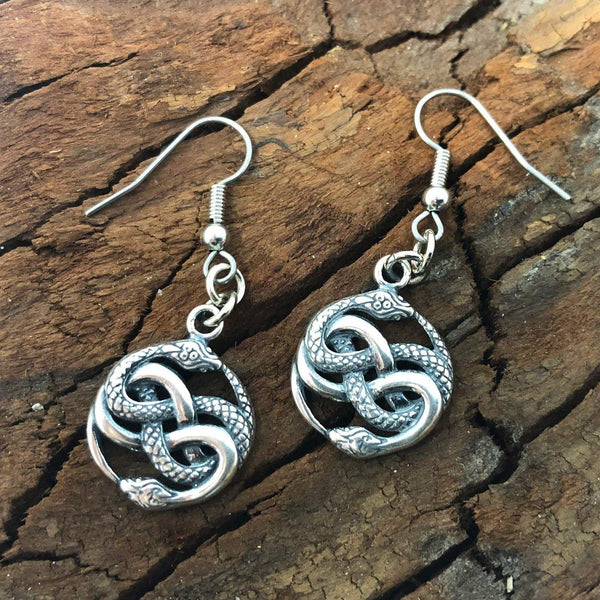 Auryn Ouroboro Twin Snake Earrings Solid .925 Sterling Silver - Moon Raven Designs