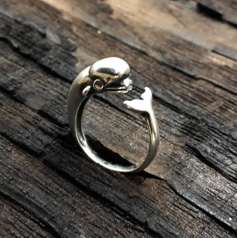 Beluga Whale Wrap Ring - Solid Hand Cast .925 Sterling Silver - Polished Oxidized Finish - Sizes 4.5 to 9 Available - Arctic Cetacean Gift - Moon Raven Designs