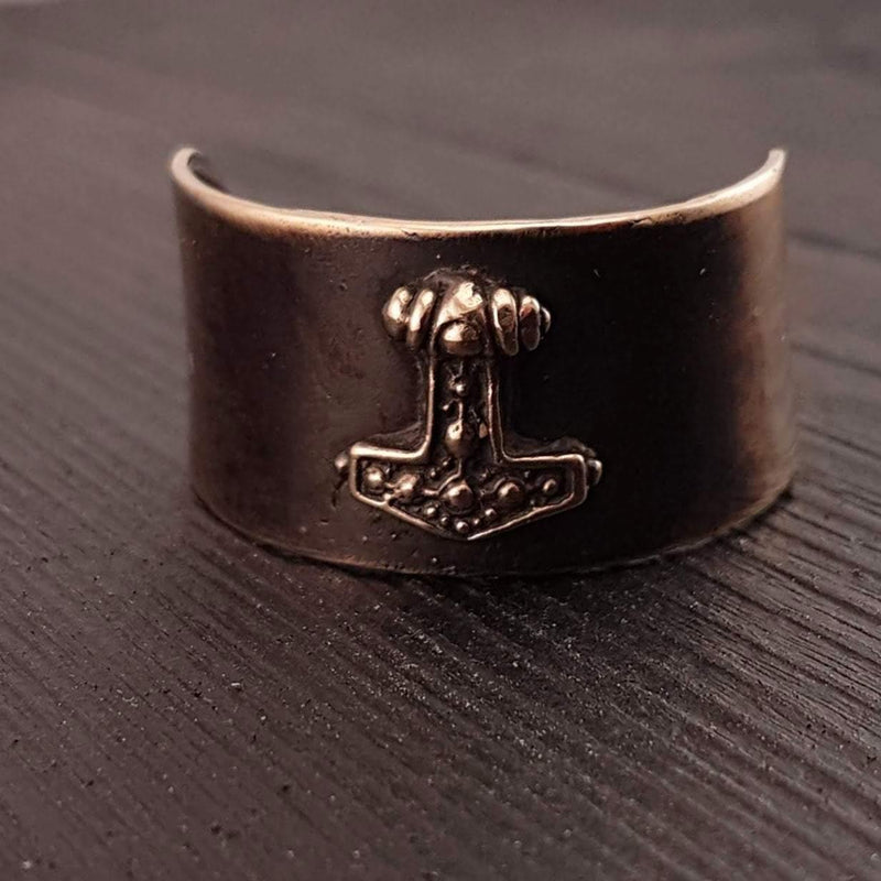 Thor's Hammer Hair Cuff Pony Tail Holder  Solid Hand Cast Jewelers Bronze - Moon Raven Designs
