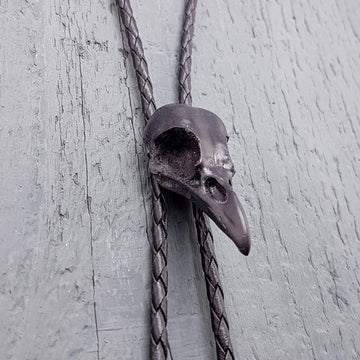 Black Crow Skull Bolo Tie - Hand Cast Onyx Resin - Black Braided Chord with Silver Tips - Unique Bird Skull Suit Accessory - Gift for Dad - Moon Raven Designs