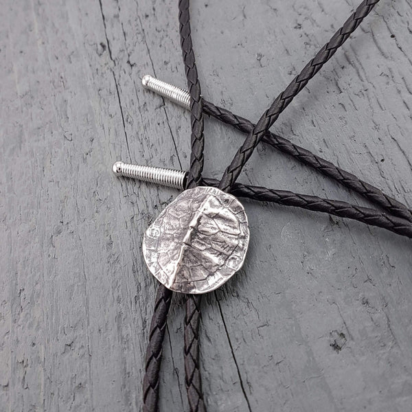 Turtle Shell Bolo Tie Silver Plated White Bronze and Braided Chord - Moon Raven Designs