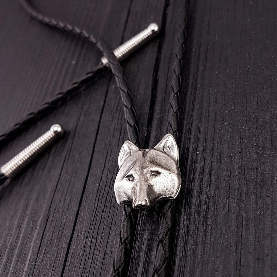Wolf Face Bolo Tie Silver Metal Black Braided Cord with Silver Tips - Moon Raven Designs