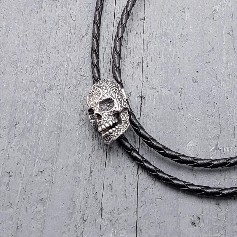 Sugar Skull Bolo Tie Necklace Solid Cast Silver Plated White Bronze - Moon Raven Designs