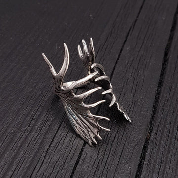 Moose Antler Wrap Ring Solid Cast 925 Sterling Silver - Moon Raven Designs