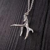 Mule Deer Antler Pendant Necklace Solid Cast 925 Sterling Silver - Moon Raven Designs