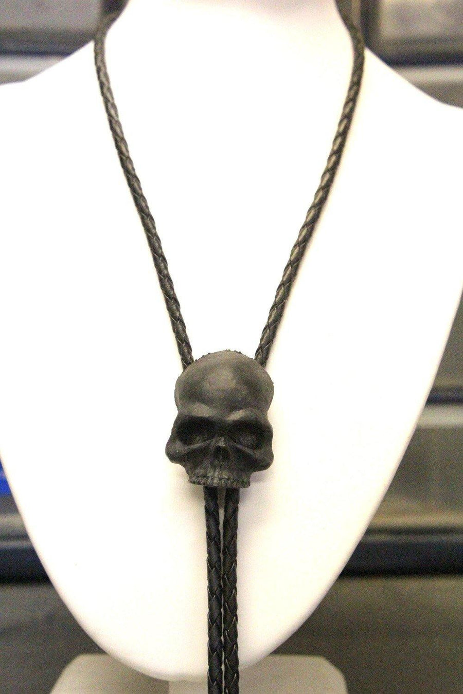 Black Skull Bolo Tie - Solid Onyx Resin and Braided Chord - Western Unisex Suit Accessory - Cowboy Goth - Moon Raven Designs