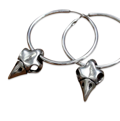 Owl Skull Hoop Earrings - Moon Raven Designs