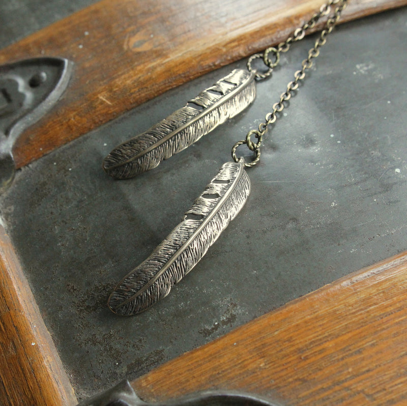Raven Feather Lariat Necklace - Moon Raven Designs