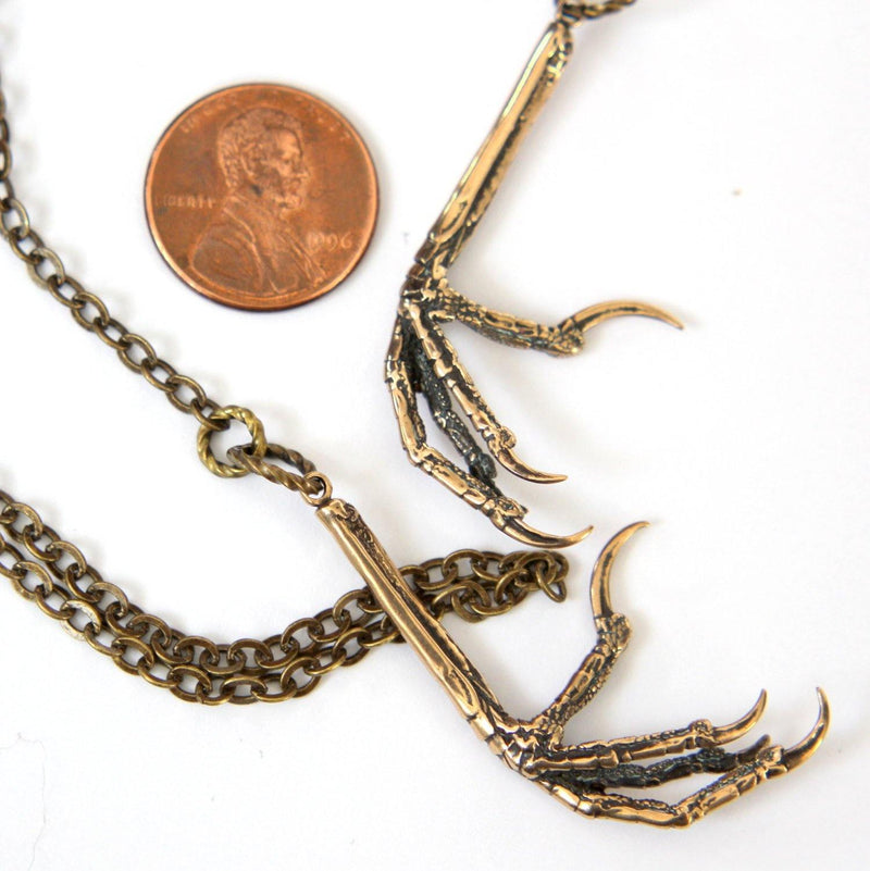 Bird Claw Lariat Necklace - Solid Hand Cast Bronze Double Lariat Necklace - Statement Gift For Her - Moon Raven Designs