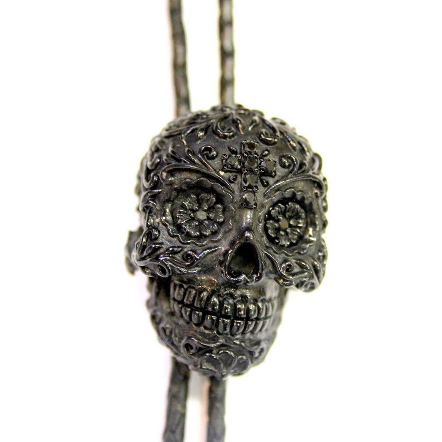 Sugar Skull Bolo Tie Solid Black Onyx Resin Stainless Steel Hardware - Moon Raven Designs