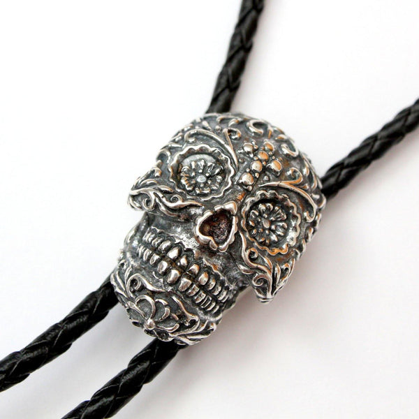 Sugar Skull Bolo Tie Necklace Silver Plated White Bronze Black Braided Chord with Silver Tips - Moon Raven Designs