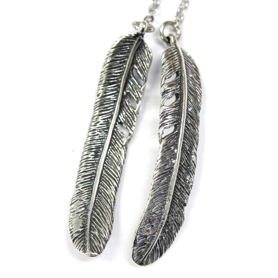 Raven Feather Lariat Necklace Silver - Moon Raven Designs
