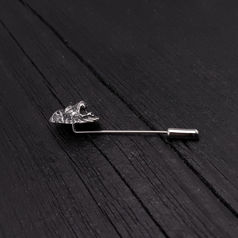 Silver Lion Head Ascot Stickpin Lapel Pin - Moon Raven Designs