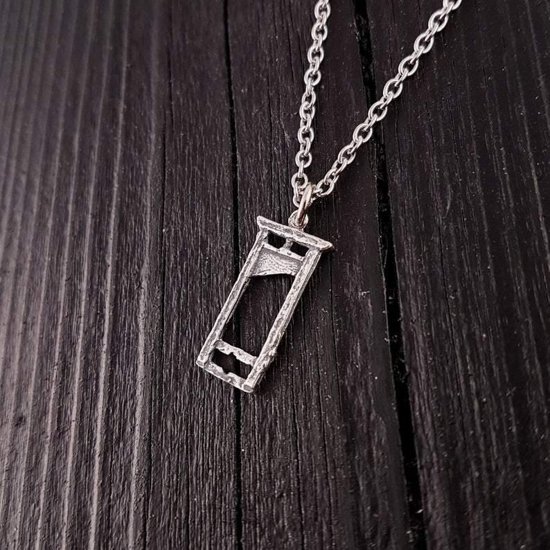 Small Sterling Silver Guillotine Charm Pendant Necklace Solid Hand Cast 925 Polished Oxidised Finish Three Dimensional Detail - Moon Raven Designs