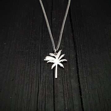 Silver Palm Tree Silhouette Charm Pendant Necklace Solid Cast 925 Sterling Silver - Moon Raven Designs