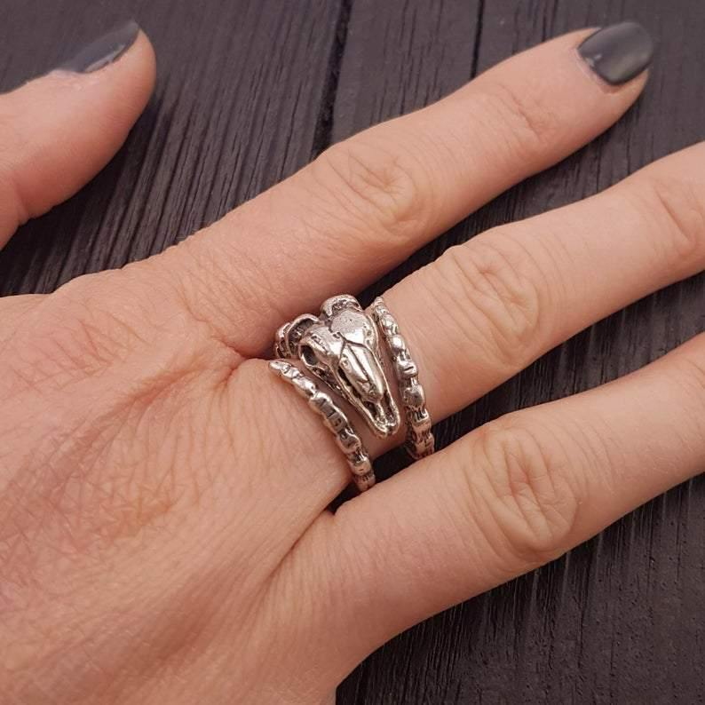 Ram Skull Wrap Ring Solid Hand Cast Silver Plated Bronze - Moon Raven Designs
