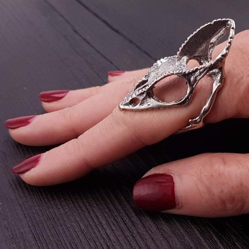 Chameleon Lizard Skull Finger Ring Silver Plated Bronze - Moon Raven Designs