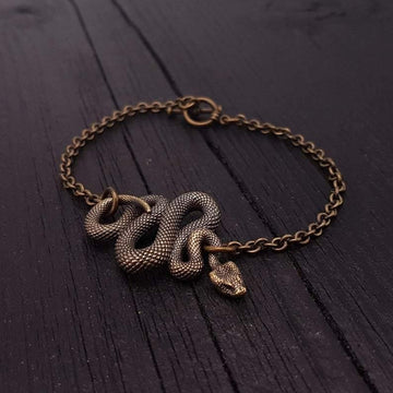 Viper Snake Bracelet Solid Hand Cast Bronze Polished Oxidized Finish