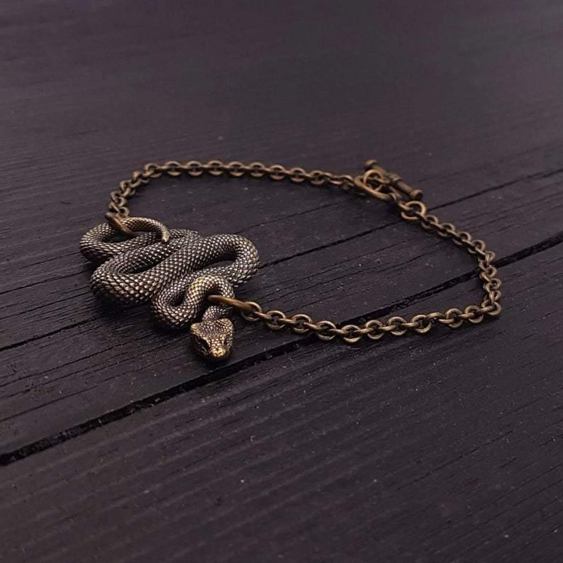 Viper Snake Bracelet Solid Hand Cast Bronze Polished Oxidized Finish - Moon Raven Designs