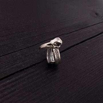 Silver Raven Skull Wrap Ring Sizes 4 to 13 Solid Hand Cast Silver Plated Bronze - Moon Raven Designs