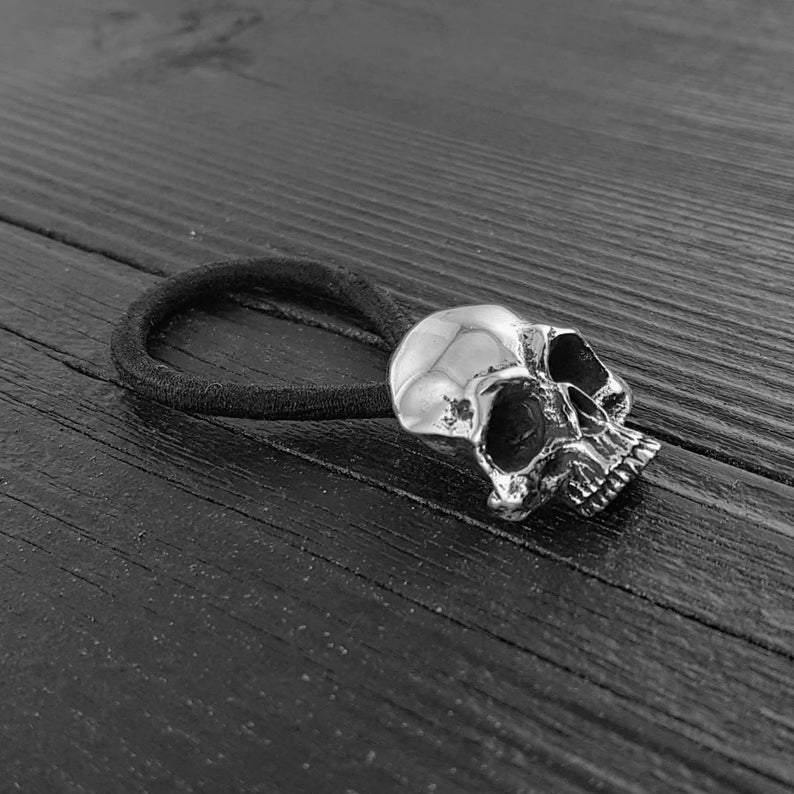 Human Skull Hair Tie Pony Tail Holder Solid Cast Stainless Steel - Moon Raven Designs