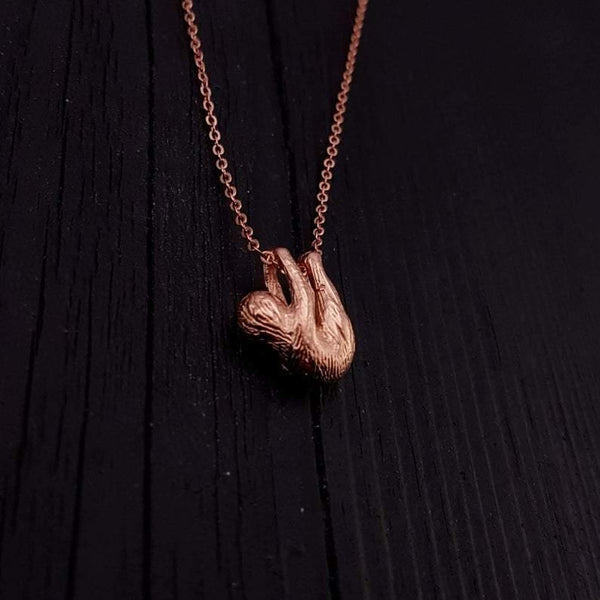 Baby Sloth Pendant Necklace - Rose Gold Plated Bronze - Moon Raven Designs