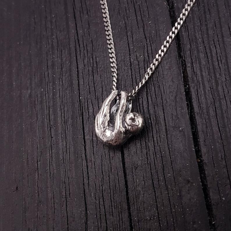 Baby Sloth Charm Pendant Necklace Solid Cast 925 Sterling Silver Three Dimensional Polished Oxidized Finish - Moon Raven Designs