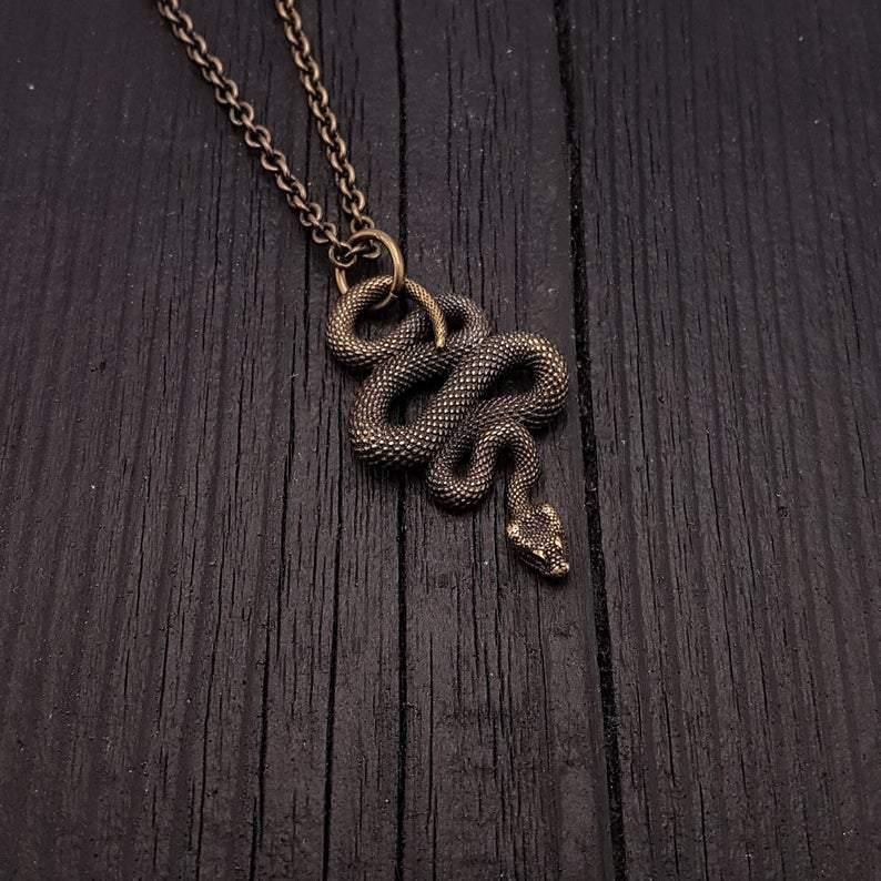 Viper Snake Pendant Necklace Solid Hand Cast Bronze Polished Oxidized Finish - Moon Raven Designs
