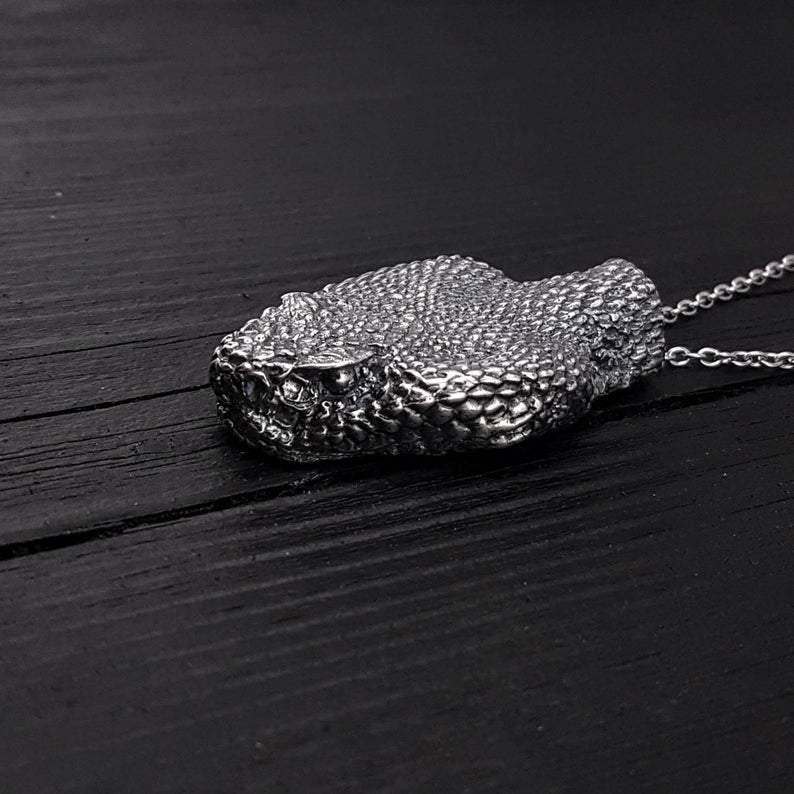 Silver Rattlesnake Head Pendant Necklace Life Size Solid Hand Cast Silver Plated Bronze - Moon Raven Designs