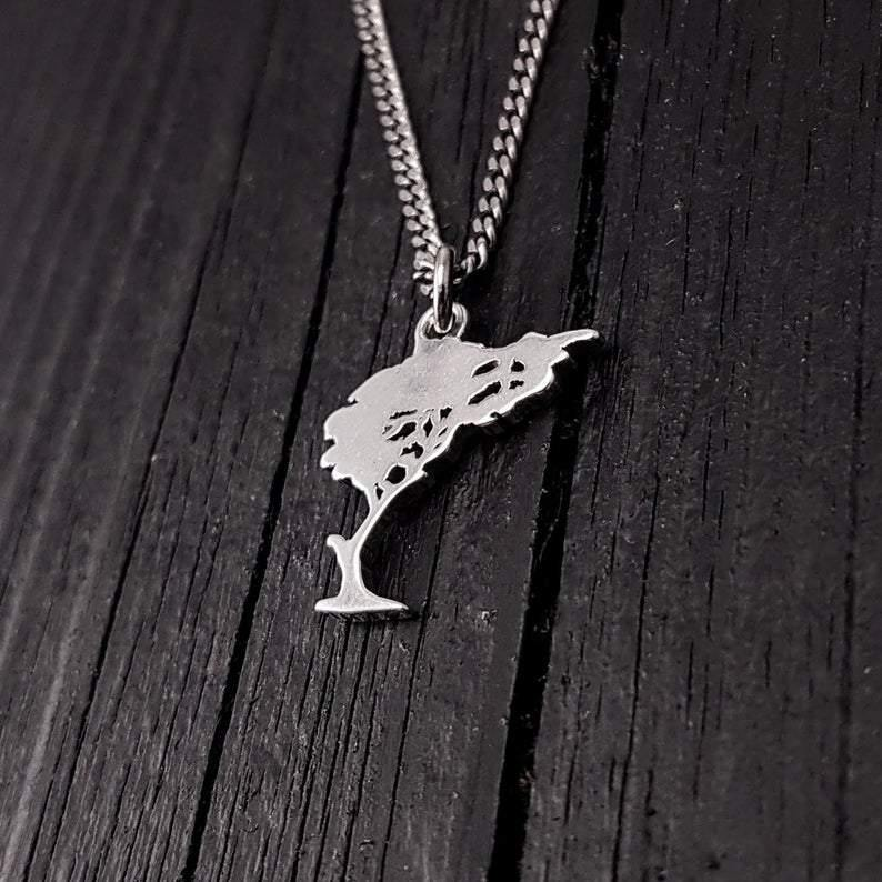 Silver Windswept Tree Silhouette Charm Bonsai Pendant Necklace Solid Cast 925 Sterling Silver - Moon Raven Designs